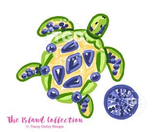 Preppy Sea Turtle clip art, Original Art download, preppy prints, invitation art, watercolor clipart, instant download, beach clip art