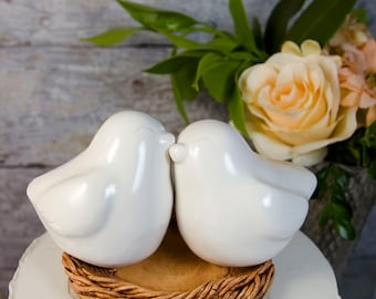 White Nuzzling Love Bird Cake Topper