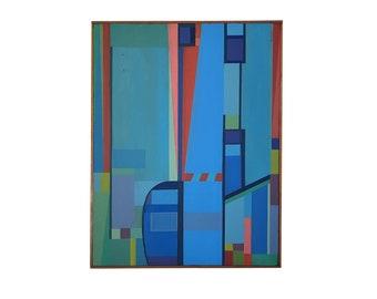 B. Henry Geometric Abstract Acrylic On Canvas 1976