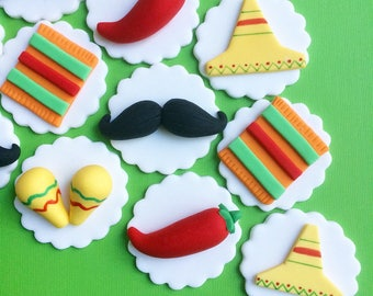 12 Fiesta fondant toppers - Cinco de Mayo party - Fiesta party - Fiesta Baby Shower - Fiesta birthday - Fiesta Bridal - Cupcake toppers