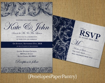 Elegant Navy and Silver Wedding Invitations,Navy and Silver Flourishes,Traditional,Romantic,Opt RSVP Card,Customizable,With White Envelopes