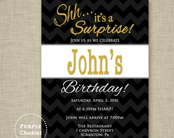 Surprise Party Invitation Black and Gold Invite Masculine invite Mans Party Invitation Adult Printable Party Invite JPEG file 322