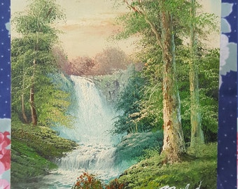 Nature Landscape Art Painting Waterfall at Sunset Forest Trees on Canvas Board Artwork Signed R Danford FS 33
