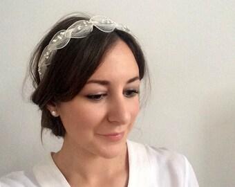 Vintage bridal tiara, 1950s tiara, Swan Lake headpiece, ballerina headband, bridal headband, feather headband, art deco headband, minimalist