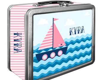 Sailboat Pink Classic Tin Lunch Box with or without Side Wrap | Back To School | Personalized | Image on Both Sides | Keepsake Box
