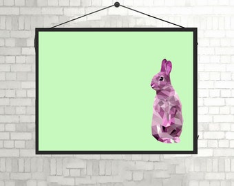 Pink rabbit Geo unframed A4 Print