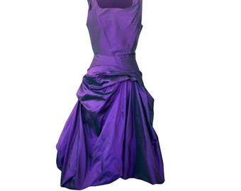 Syle ELIZABETH  /Purple Sleeveless Party Dress In Silk / Wedding Guest, Bridesmaid or Mother Of Bride / /PROM DRESS/Made In Britain