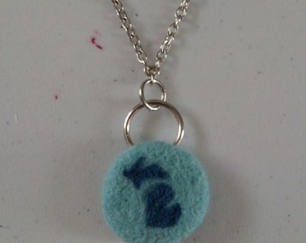 Michigan Felt Necklace - Blue on Blue - Needle Felt Jewelry