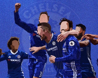 Chelsea FC Collage / Digital Art/ Wall Art Print / Fabric Collage / Soccer Illustration