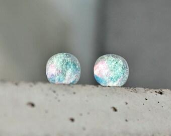 Light turquoise glass stud earrings - Aqua blue stud earrings - glass stud earrings - tiny stud earrings - bridesmaid earrings