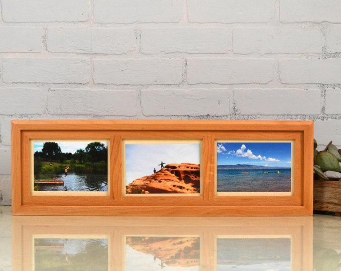 5x7 Collage Frame - Triptych Windows for (3) 5 x 5 Photos with Natural Alder Wood Finish - IN STOCK  Same Day Shipping - 5 x 7 Frames