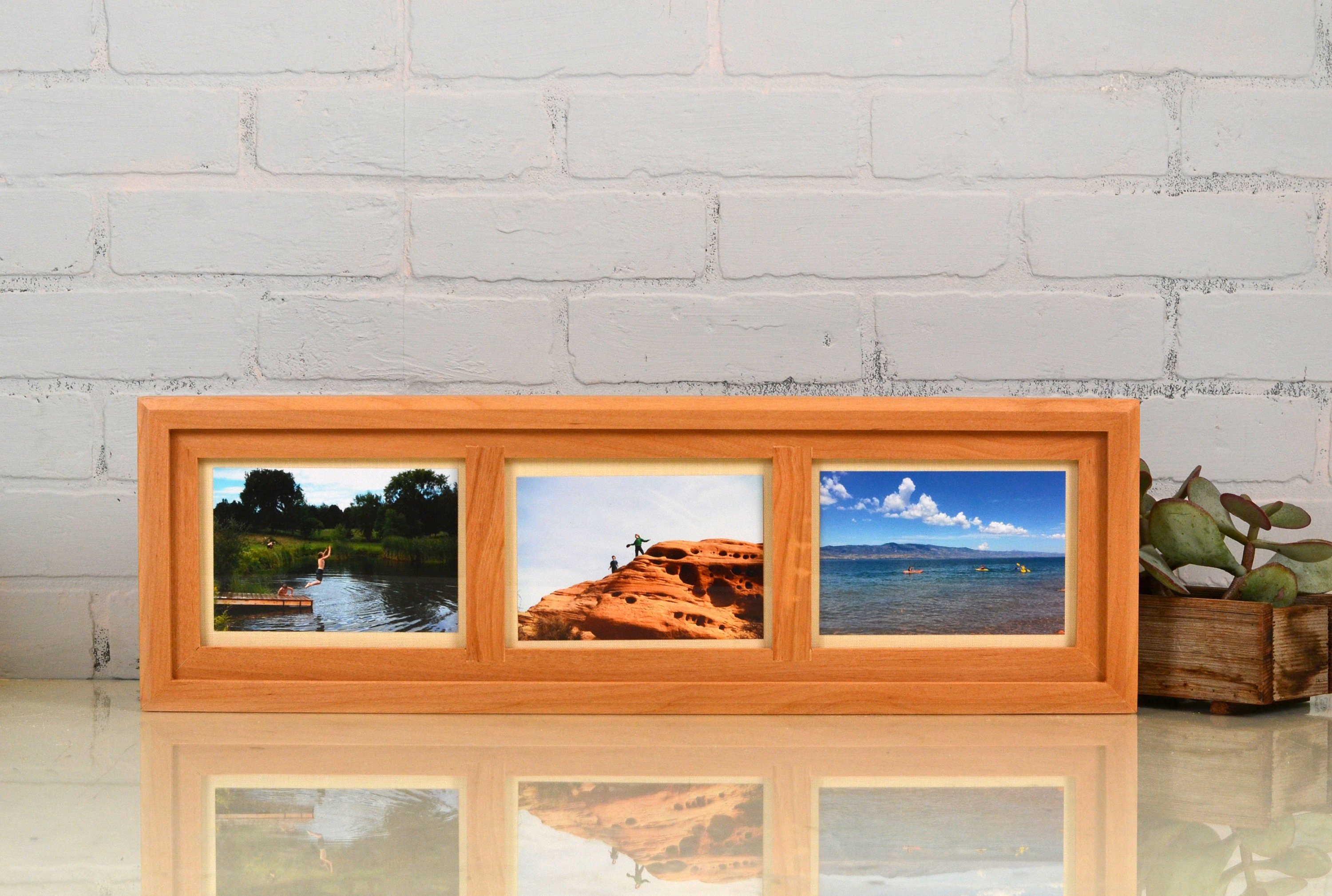 5x7 Collage Frame - Triptych Windows for (3) 5 x 5 Photos with ...