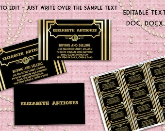 Gatsby program card etsy printable business card art deco great gatsby inspired black and gold editable text colourmoves