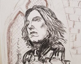 A3 canvas, charcoal drawing of prof snape