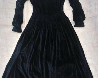 Antique Black Velvet Gown