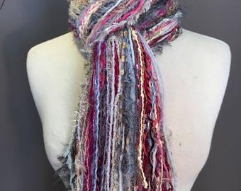 Fringie in Sweet Tart, Fringe Scarf, Handmade hand-tied art fringe scarf in pink grey tan blue, long scarf, boho, fashion, Valentine's Day