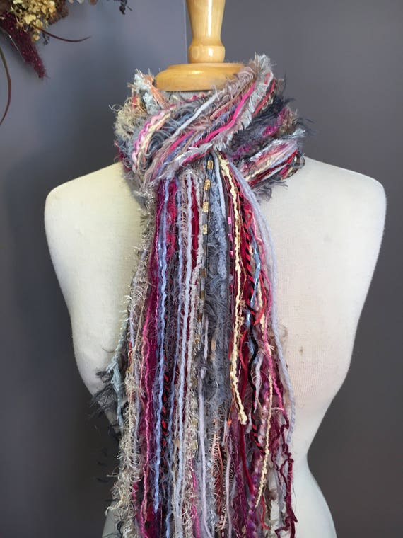 Fringie in Sweet Tart, Fringe Scarf, Handmade hand-tied art fringe scarf in pink grey tan blue, long scarf, boho, fashion, Valentine's Day