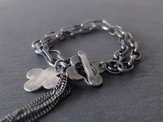 Personalised Silver Quatrefoil Bracelet, Valentines Bracelet, Silver Bracelet with Flower Charm, Chunky Personalised Tassel Bracelet,