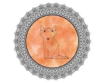 Fox Polygonal Mandala, Polygonal Fox, Geometric Fox, Fox Art Print, Fox Decor, Wall Art Minimalist