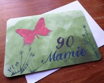 "Greeting card ' Butterfly ""customizable birthday handmade 21cm x 15cm"