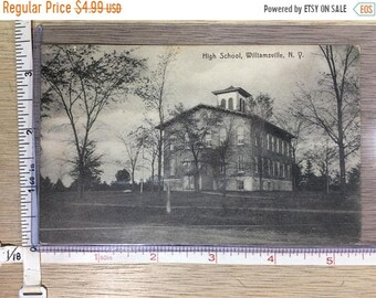 10%OFF3DAYSALE Vintage Old Post Card High School Williamsville NY Post Marked 1910 Used