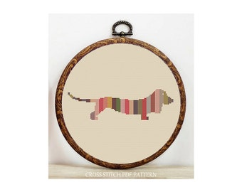 Dachshund Dog-Cross Stitch Pattern-Modern Sampler-Pdf-Instant Download