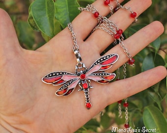 Red Dragonfly Necklace, Long Rhinestone Necklace, Red Enamel Dragonfly Pendant, Butterfly Necklace, Insect Pendant Necklace