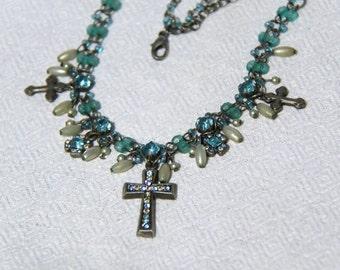 Vtg 90s Blue Cross Necklace