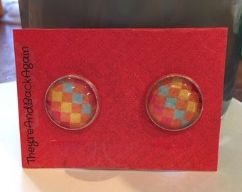 16mm Round Colorful Checkered Earrings
