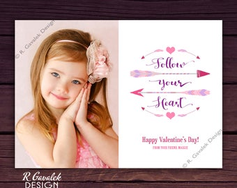 Valentine's Day Photo Card | Follow Your Heart | Custom Printable Valentine | Happy Valentine's Day Card | Personalized Photo Valentines