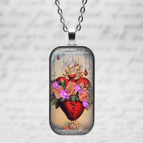 Catholic Pendant with 18 or 24 inch chain - Immaculate Heart of Mary Art Pendant