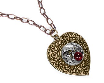Steampunk Jewelry Necklace Brass Vintage Watch HEART Pendant RED Crystal Wedding Anniversary Mother Girlfriend Bride - Jewelry by edmdesigns