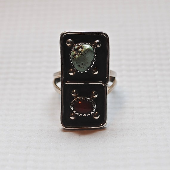 Native American Sterling Silver Turquoise Coral Ring Sz 9 #4080