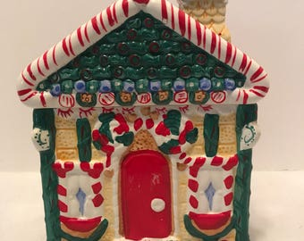 Christmas Peppermint Candy House Cookie Jar