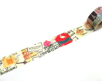 French Collage Washi Tape, Wide Washi Tape, 30mm x 10m