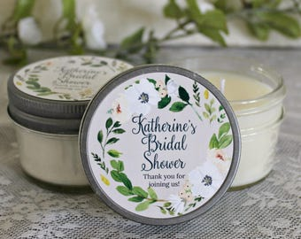 Blush, White & Greenery Bridal Shower Favor / Set of 12 - 4 oz. Favor Candles / Boho Wedding / Rustic Wedding Favor / Personalized wedding