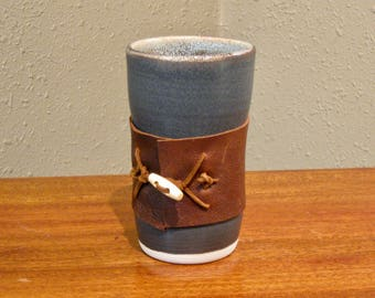 Black tumbler - handless mug with leather wrap