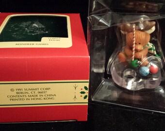 "Vintage 1991 Heirloom Collection ""Reindeer Games"" Christmas Ornament, Carlton Cards"