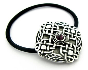 Celtic Knotwork Hair Holder with Garnet Crystal