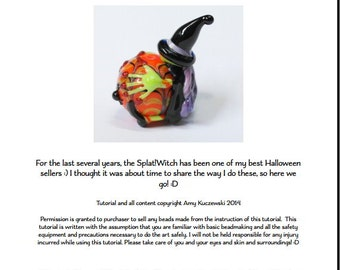 Splat!Witch Halloween Lampwork Bead Tutorial Immediate PDF Download