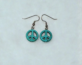 Turquoise colored stone peace sign earrings