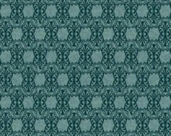 Autumn Glory Hexagonal Tonal Teal Blue Fabric 4 & 1/3 plus yards