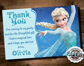 FROZEN Printable THANK YOU card, Custom Frozen Invitation Birthday Party, Frozen Party Decor, Winter Birthday, Pink Frosting Paperie