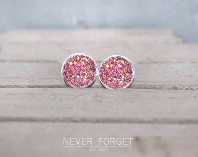 "Featured listing image: Earrings ""Flake"" white/black/pink-10 mm/pair"