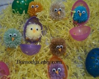 Pom Pom Easter Chicks, Dozen, Amigurumi Chicks, Easter Egg Filler