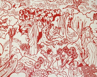 Retro Wallpaper by the Yard 70s Vintage Wallpaper - 1970s Red and Biege Utopian Garden Floral Scenic