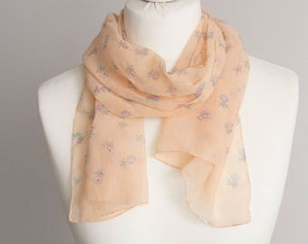 "vintage long scarf, spring scarf, retro scarf, polyester scarf, fabric women scarf 36x135cm / 14x53"" sheer scarf floral scarf pink blue"