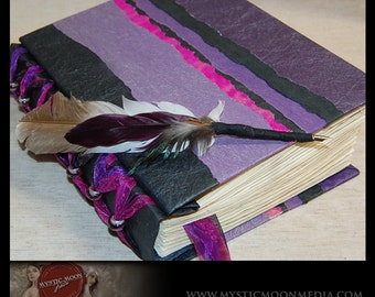 Midnight Amethyst Desire...Patchwork... Glass Beaded XL Handmade Journal / Sketch Book and Quill Pen...Guest Book...Refillable BOS