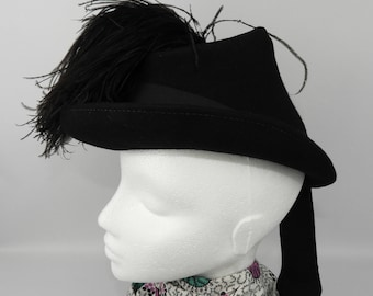 1940's Black Felt Hat with Ostrich Feather Plume
