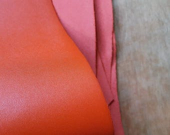 Orange Italian Leather Hide APX. 1.80m2 1.5mm thick